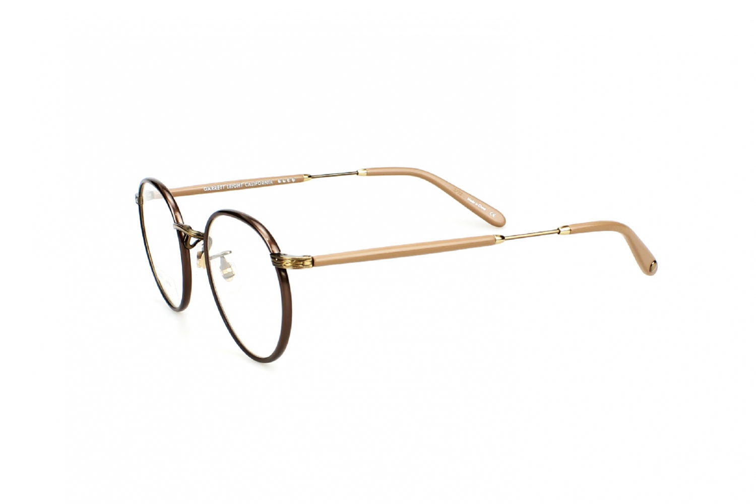 Garrett Leight California Wilson BRNPL-BG-POMV 46 brown pearl brushed gold powder mauve
